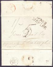 GREAT BRITAIN POSTAL HISTORY : KENT, Dover Ship Letter, 1785 entire from Spanish Town per ''Augustus Caeser'', landed at Dover and forwarded to Edinburgh. Has a fine ''DOVER/SHIP LRE'' cachet in black (S 3), a London Bishop mark ''28/JY'' & a red Edinburgh Bishop mark ''AU/1''. Pristine!