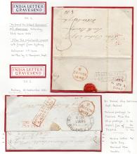 GREAT BRITAIN POSTAL HISTORY : KENT, Gravesend India Ship Letters. Album page with two entires: 1842  letter written ''On board the 'Gilbert Jamieson' off Sheerness'', mentioning the voyage from Sydney, landed at Sheerness & addressed to Edinburgh. Has a boxed ''INDIA LETTER/GRAVESEND'' cachet in black (IN 2). Second item: 1837 entire sent from Ballery & per ''Emma'' from Madras and landed at Gravesend, addressed to London. Has an oval ''Madras Ship Letter'' cachet in black & a ''INDIA LETTER/GRAVESEND'' cachet in red (IN 2).