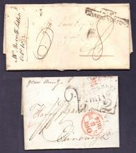 GREAT BRITAIN POSTAL HISTORY 1814 2d Penny Post wrapper Pimblico and 1832 Prestamp wrapper