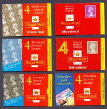 GREAT BRITAIN STAMPS : Airmail Machin booklets 6 different