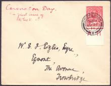 GREAT BRITAIN FIRST DAY COVER : 1911 GV Downey Head 1d control A11 used on the first day of issue 22nd June 1911 on plain hand addressed envelope, scarce with control .