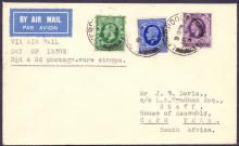 GREAT BRITAIN FIRST DAY COVER : 1935 GV first day cover with 2 1/2d and 3d photogravure stamps issued on 18th March 1935. Clean typed addressed envelope sent airmail to South Africa. Cat £95