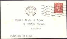 GREAT BRITAIN FIRST DAY COVER : 1942 GVI 1 1/2d pale brown on neat plain FDC, cancelled by Dumfries machine cancel dated 28th Sept 1942. Cat £45