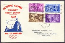 GREAT BRITAIN FIRST DAY COVER : 1948 Olympic Games illustrated cover cancelled by both slogan and Wembley Skeleton type cancel dated 29th July 1948 Cat £50