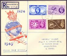 gREAT BRITAIN FIRST DAY COVER 1949 UPU illustrated First Day Cover, neat CDS cancel dated 10th Oct 1949. Very fine. Cat £70