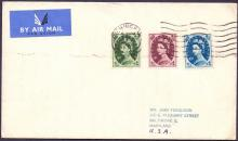 GREAT BRITAIN FIRST DAY COVER : 1954 9d, 10d, 11d on very neat plain typed addressed airmail cover to USA, cancelled by Birmingham machine cancel dated 8th Feb 1954 Cat £40