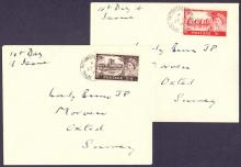GREAT BRITAIN FIRST DAY COVER : 1955 2/6 and 5/- Castles on matching hand addressed pair of first day covers , Royal Automobile Club CDS dated 23rd Sept 1955 on special envelopes with crest on reverse. Cat £75+