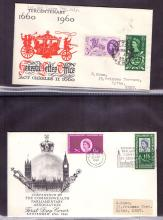 GREAT BRITAIN FIRST DAY COVERS : 1960 to 69 collection in album. Including 1960 GLO, 1961 Parliament special cancel, 1965 UN, 1965 Churchill etc. Plus 1937 illustrated coronation FDC for Antigua.