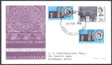 GREAT BRITAIN FIRST DAY COVER : 1966 Westminster Abbey, Phosphor and Non Phosphor on same illustrated cover, cancelled by London FDI Cat £50
