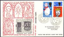 GREAT BRITAIN FIRST DAY COVER : 1966 Xmas, scarce Sanquhar post office cover 1st Dec 1966 (seen sold at £100)
