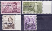 AUSTRALIA STAMPS : 1966 Navigators issue, four top values overprinted 'SPECIMEN'. Fine U/M.