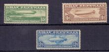 USA STAMPS : 1930 Graf Zeppelin very lightly mounted mint set of 3, the 65c is actually unmounted SG A687-89 Cat £1600