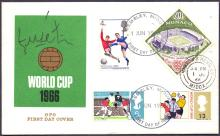 SIGNED AUTOGRATH COVER: FOOTBALL: 1966 World Cup FDC cancelled by 1st JUne 1966 Wembley CDS, also with the Mexico stamp. Signed by the famous Portuguese star EUSEBIO. Scarce