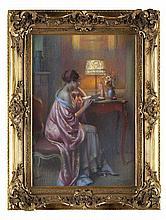 Delphin ENJOLRAS (1857-1945) Femme à la lecture, Pastel sur papier, signé en bas à droite. 54x36 cm