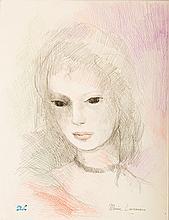 LAURENCIN MARIE (1883-1956)   Portrait de jeune femme aux yeux noirs