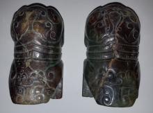 Pair of Jade Beasts Scroll Holder