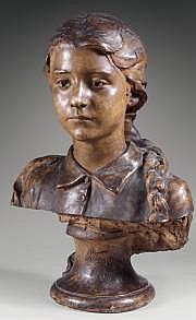 Victorien BASTET (1853-1905) Buste de jeune fille