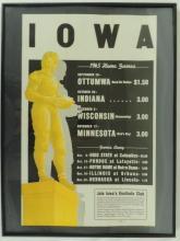 1945 Iowa University Football Poster Schedule, Framed a