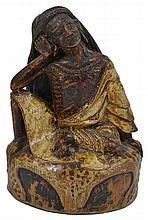 A POLYCHROMED BAMBOO FIGURE OF MILAREPA, TIBET, 18TH/19TH CENTURY