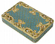 A SILVER-GILT AND ENAMEL SNUFF BOX, UNMARKED, PROBABLY GERMAN, THIRD QUARTER 19TH CENTURY