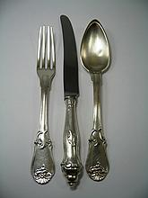 A SET OF CONTINENTAL ELECTROPLATE FLATWARE, MAKER'S STAMP WS, PROBABLY BELGIAN OR GERMAN, THIRD QUARTER 19TH CENTURY