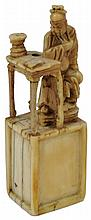 ˜A CHINESE CARVED IVORY MINIATURE GROUP OF GUAN YU, MING DYNASTY, 17TH CENTURY