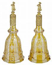 A PAIR OF GERMAN SILVER-GILT-MOUNTED BOHEMIAN GLASS DECANTERS, THE MOUNTS J.D. SCHLEISSNER & SOEHNE, HANAU, CIRCA 1920