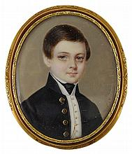 ˜A PORTRAIT MINIATURE OF A YOUNG BOY, BY NELSON MULNIER (BORN 1817), CIRCA 1840