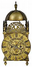 AN ENGLISH BRASS COMPOSITE LANTERN CLOCK, 18TH CENTURY AND LATER