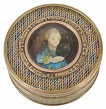 ˜A FRENCH GOLD-MOUNTED VERNIS MARTIN PICTURE SNUFF BOX AND COVER, CIRCA 1780