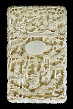 A CHINESE IVORY CARD CASE, CANTON, THIRD QUARTER 19TH CENTURY