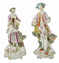 TWO DERBY FIGURES OF A SHEPHERD AND A SHEPHERDESS, CIRCA 1765