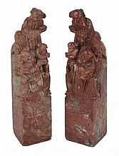 A PAIR OF CHINESE 'CHICKEN BLOOD' SOAPSTONE SEALS, LATE 19TH/EARLY 20TH CENTURY