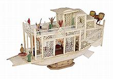 A CHINESE BONE MODEL OF A FLOWER BOAT, CANTON, SECOND HALF 19TH CENTURY