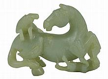A CHINESE JADE HORSE GROUP, LATE 19TH/EARLY 20TH CENTURY