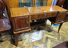 English Art Deco Vanity Dressing Table Walnut and Brass Embellishments and Birds Eye Maple Interior Damage to Left Door Circa 1930 46 Inches Wide x 28 Inches High