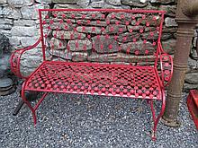 Red Painted Cast Metal Garden Seat Width 53 Inches