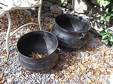 Two Antique Cast Iron Irish Skillet Pots on Tripod