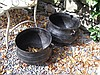 Two Antique Cast Iron Irish Skillet Pots on Tripod