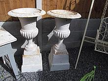 Pair of Cast Iron Garden Urns with Gadrooned