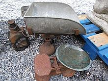 Two Antique Weighing Scales and Vintage Lorry Jack