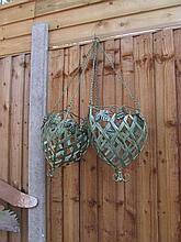 Pair of Cast Metal Green Vine Decorated Hanging
