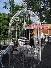 Metal Painted Gazebo with Upper Urn Decoration