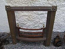 Brass Framed Fire Inset with Reeded and Urn