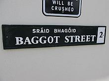Vintage Baggot Street Sign 32 Inches Wide x 7