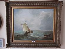 Marine School Signed J van Derliet Oil on Canvas