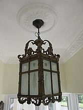 Victorian Brass Mounted Engraved Glass Hall