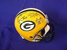 Brett Favre, Aaron Rodgers, Bart Starr autographed helmet