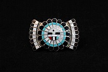 Vintage Jd Massie signed Zuni sterling silver, and semi precious stone belt buckle
