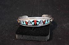 Vintage RL Yuselew signed Zuni sterling silver and semi precious stone bracelet